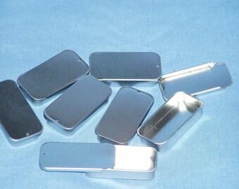 50 medium slide top tins 1/2 oz pill box for lip balm, salve, storage  item 302