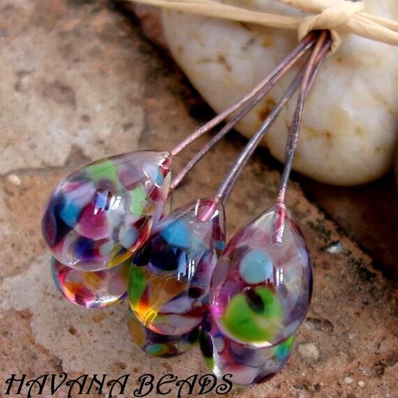 WILDFLOWERS DROP Head Pins - Set of 6 Handmade Lampwork Head Pins