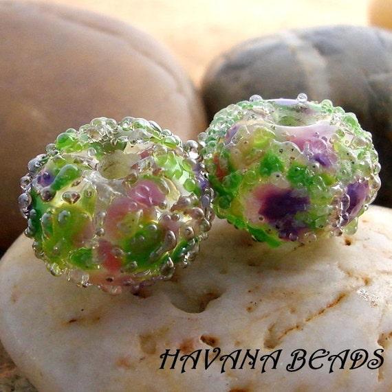 BLOOMING IRIS Sparkle Earring Pair -  Set of 2 Handmade Lampwork Beads