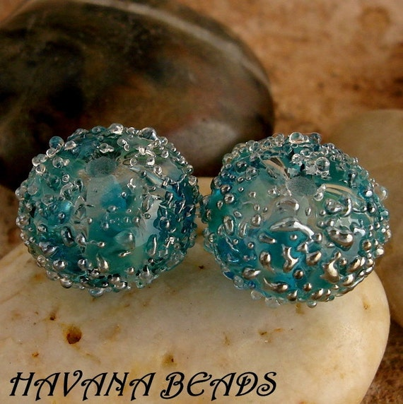BLUE LAGOON - Silver Sparkle Earring Pair - Set of 2 Handmade Lampwork Beads