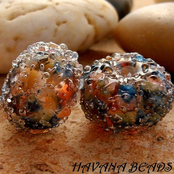SAILOR'S RUN Silver Sparkle Earring Pair -  Set of 2 Handmade Lampwork Beads