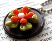 orange and green flower (free shipping)