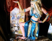 Halloween Wig Egyptian Goddess Blond Bombshell with blue hilites, decadent Burlesque Party, by Hair Nurse Lana Guerra