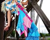 Pants blue ruffle long tight fitted leggings Turquoise wide leg Belly Dance Pants. flower petal fairy legs bell bottom