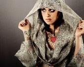 giant Hood silver Lace Bohemian SHIRT.    crude couture warm weather fashion