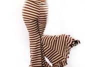 Belly Dance Wide Leg stripe PANTS. in brown cream Steampunk Carnival Stripes Mermaid Shape Legs, high waist Gothic