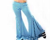 Belly Dance Wide Leg stripe PANTS. Blue Carnival Stripes Mermaid Shape Legs, low waist Circus Festivals Lounge pants