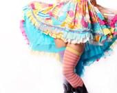 Babydoll Dress Gothic Lolita Sundress in vintage fabrics Upcycle Retro Ruffles Hippie Flower Child Costume Circus Performer Showgirl Playa