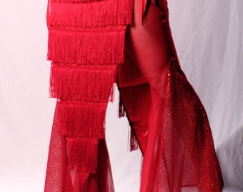 Wide Leg Pants, Belly Dance sexy Red Sheer Netting bling Gothic Crude Things Mermaid Pants. lightweight Summer Festival bell bottoms