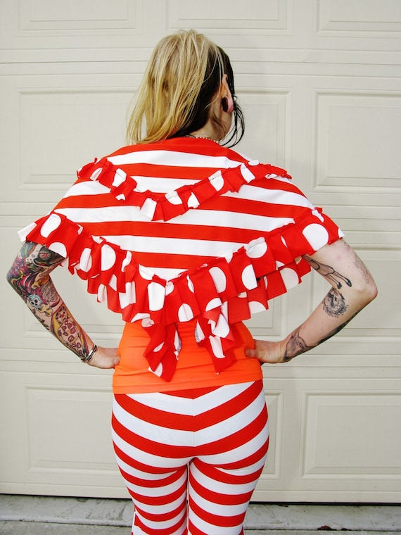 RESERVED for Nastassja SparkleDuck. French Carnival Chic Hip Scarf, Shawl. orange and white stripes, polka dots ruffles.