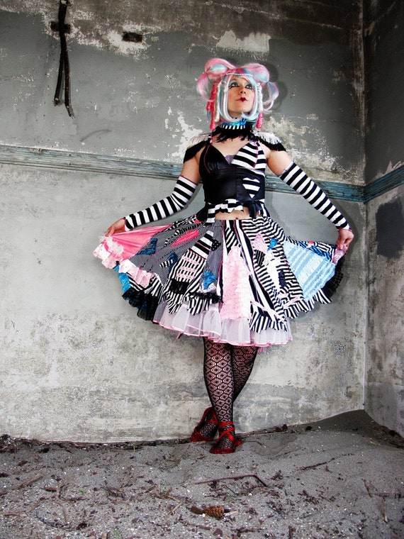 RESERVED FOR tishalule.  Broken Carnival Lolita Doll Flare SKIRT, crude couture by Lana Guerra