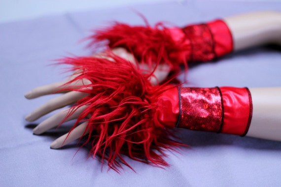 Blood Red Arm Warmers bright reptile print Bewitching Monster Paws Furry Sleevesburlesque vaudeville