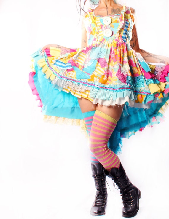 Babydoll Dress Gothic Lolita Sundress in vintage fabrics Upcycle Retro Ruffles Hippie Flower Child Costume Circus Performer Showgirl Playa