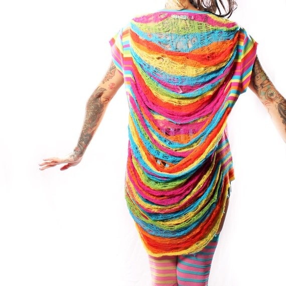 Rainbow Warrior Shredded TShirt, Rave Pixie bright stripes patchwork buttons Top cotton Eco Upcycle Repurpose Web Back Oversize slouchy
