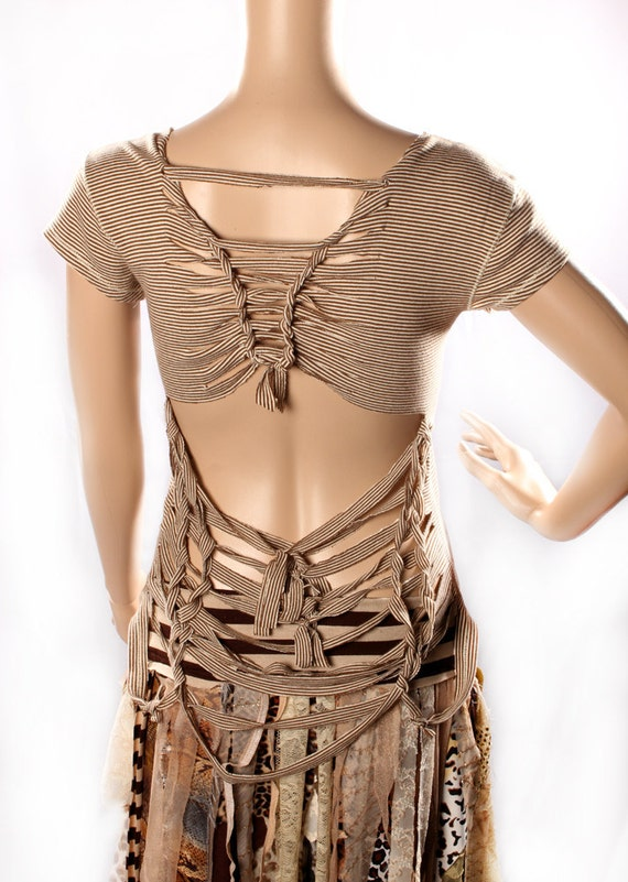 Playa Braided TShirt, brown stripe comfortable fun Open Back Shredded striped cotton Destroy Top Eco Upcycle Repurpose steampunk festivals