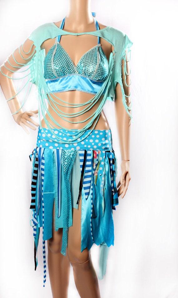 Tattered Mini skirt - Mermaid Blue Waistland Skirt Mad Max Summer Festivals playa Bright turquoise stripe Witchy Small