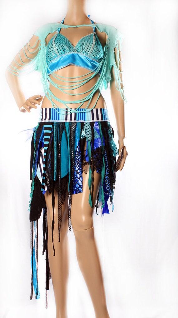 Asymmetrical Mini skirt - Tattered Mermaid Blue Black apocalypse Skirt Mad Max Summer Festivals playa Free Spirit Witchy Large