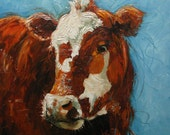 Print of cow68 16x16 inch from oil painting by Roz
