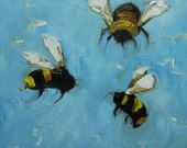 Bee 186 12x12 inch original oil painting by Roz