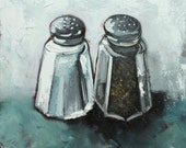 Salt and Pepper painting 15 12x12 inch still life original oil painting by Roz