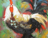 Rooster 479 10x10inch Print of oil painting by Roz