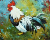 Rooster 507 10x10inch Print of oil painting by Roz