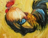 Rooster 514 10x10inch Print of oil painting by Roz