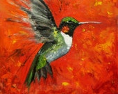 Bird 86 12x12 inch hummingbird original oil painting by Roz