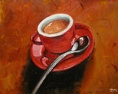 Coffee6 16x20inch original oil painting by Roz SALE
