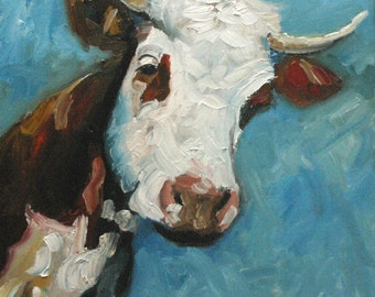 16x20 Print of oil painting Cow19 by Roz