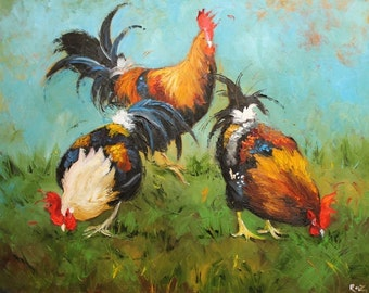 16x20 Print from oil painting Rooster 430 by Roz