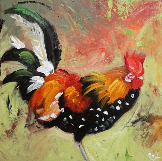 Rooster 448 12x12 inch original oil painting by Roz
