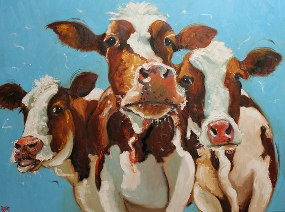 Print Cow 293 18x24 inch Print from oil painting by Roz