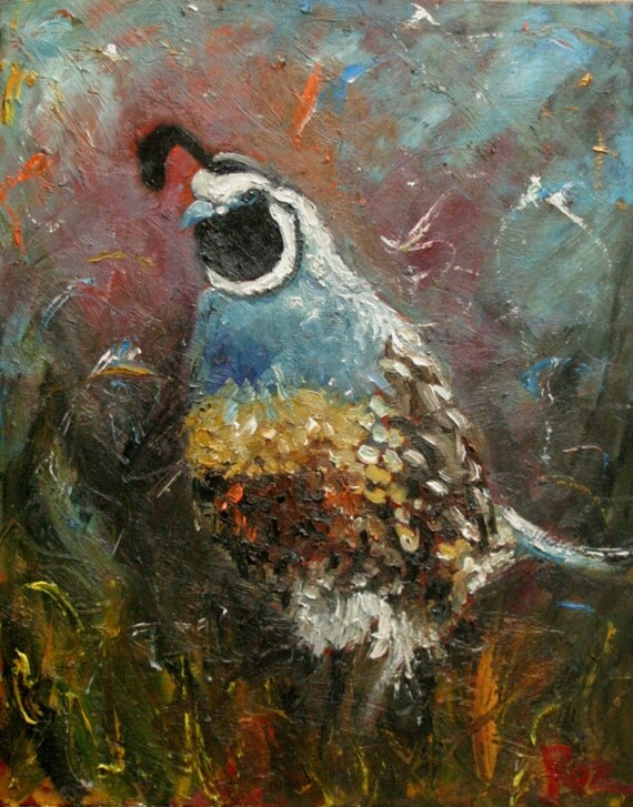 11x14 Print of oil painting Quail 11 by Roz