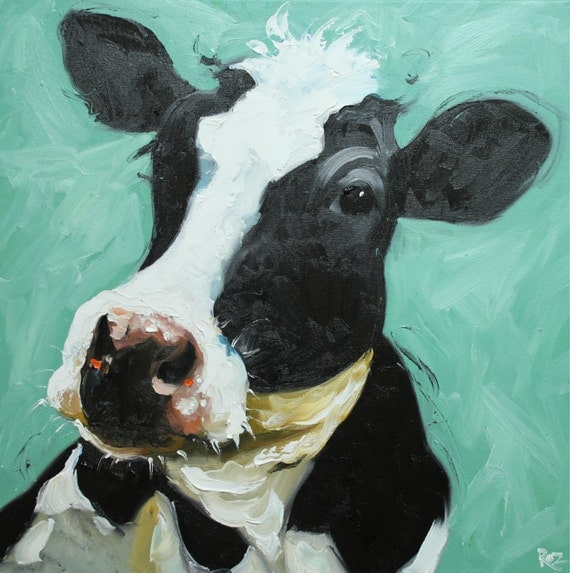Print Cow 350 20x20 inch Print from oil painting by Roz