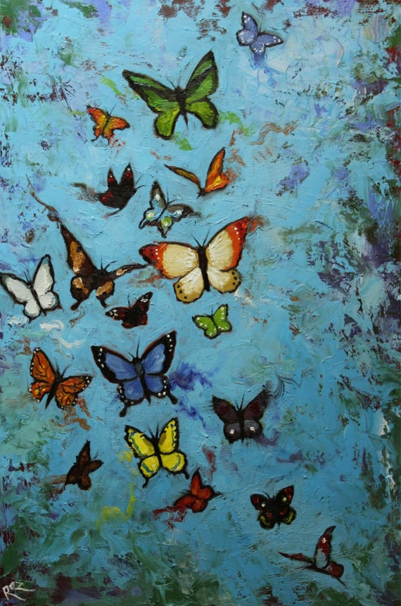Butterflies 13 24x36 inch butterfly original insect animal portrait oil painting by Roz
