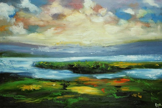 Landscape painting 175 24x36 inch original oil painting by Roz