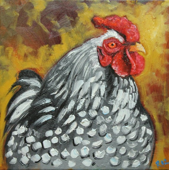 Rooster 541 12x12 inch original oil painting by Roz