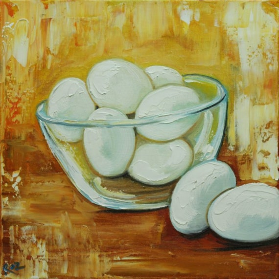 SALE Eggs 6 painting 12x12 inch original oil painting by Roz