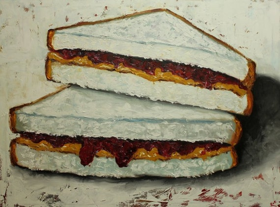 PBJ Sandwich painting 19 30x40 inch still life original oil painting by Roz
