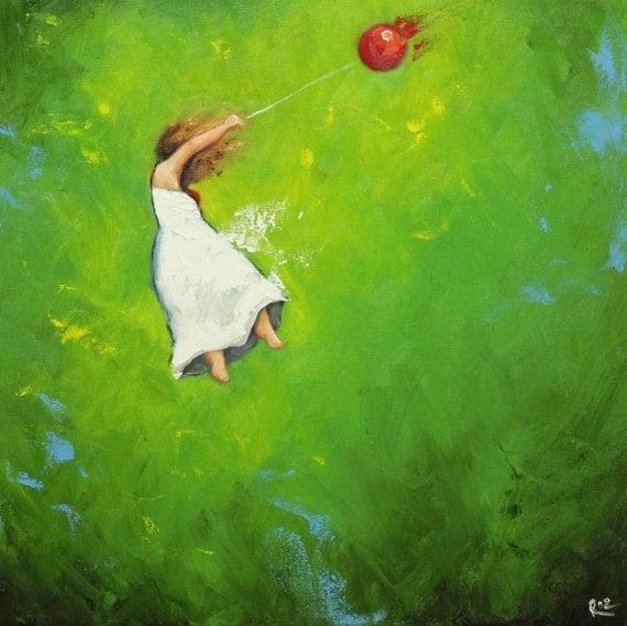 Leap portrait painting 374 20x20 inch original oil painting by Roz