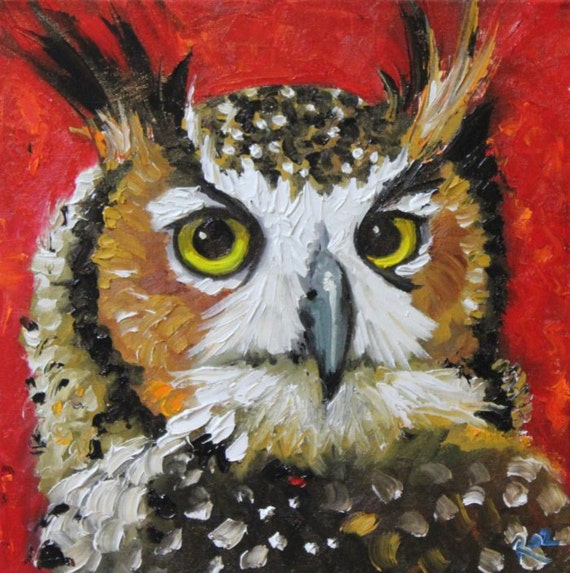 Owl painting 43 12x12 inch original oil painting by Roz