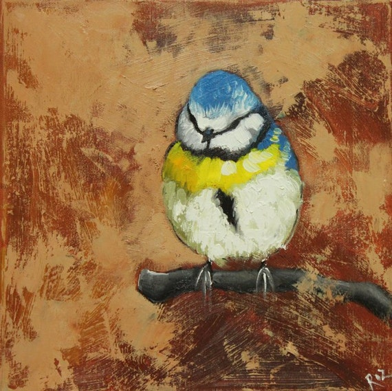Bird painting 119 bird 12x12 inch original oil painting by Roz