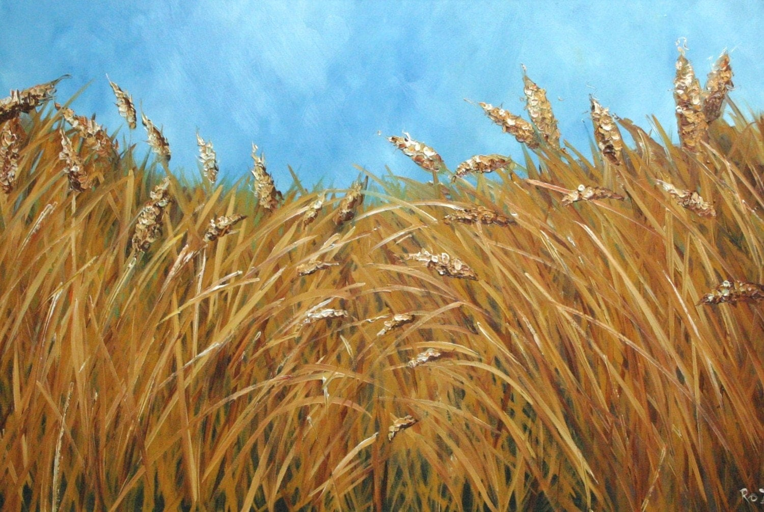 Wheat 17 24x36 Inch Original Oil Painting By Roz