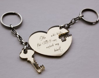 Key To My Heart Key Chain Set,Plexiglass Aceessories,Lasercut Acrylic,Gifts Under 25