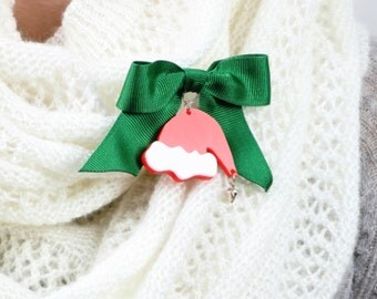 Santa's Hat Brooch Pin,Christmas Jewelry