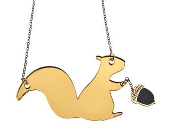 Squirrel With Acorn Necklace,Plexiglass Jewelry,Lasercut Acrylic,Gifts Under 25