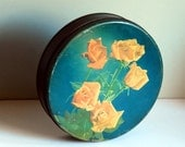 Vintage Tin Box Teal Candy Tin with Roses Cottage Chic Decor Storage