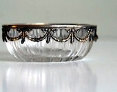 Antique German Open Salt, Sterling Silver and Cut Crystal