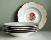 Vintage Soup Bowl, Hutschenreuther Dundee Rose China White Dishes, Pink Flower